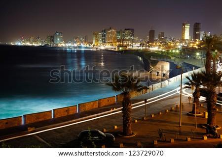 Tel Aviv. Night view from Jaffa - stock photo