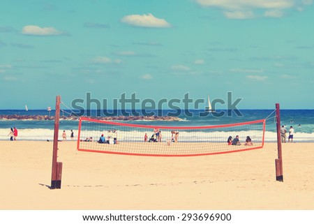 Tel Aviv public beach.Mediterranean sea, Israel. Vintage retro instagram style - stock photo
