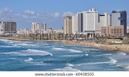 Tel-Aviv seashore as seen from old Jaffa. Israel. - stock photo
