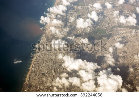Tel Aviv seen from above, main city of Israel, Middle East - stock photo