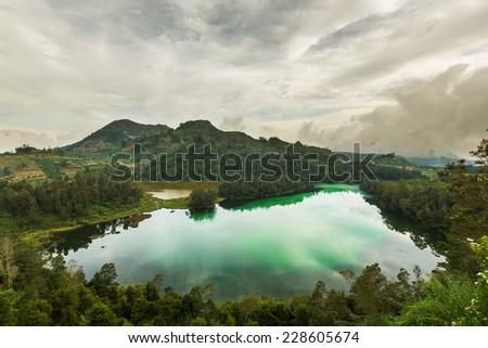 Telaga Wama lake,Dieng Plateau, Jawa, Indonesia - stock photo