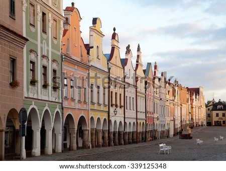 TELC, CZECH REPUBLIC, 28TH AUGUST 2015 - Evening red colored view of Telc or Teltsch town square, Czech republic. world heritage site by unesco