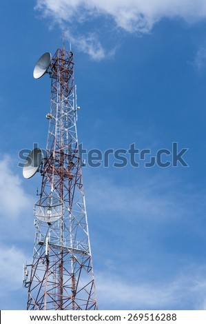 Tele-radio tower on blue sky background