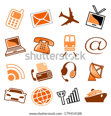 Telecom and transport icons. Raster version of EPS image 31251856 - stock photo