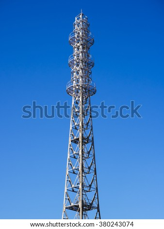Telecom station Antenna tower Information Provider Communication Industrial Business - stock photo