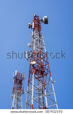 Telecommunication antenna for radio, television and telephone with blue sky background.