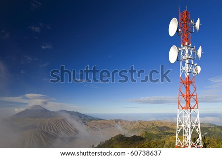 Telecommunication Antenna on Background of Mt.Blomo