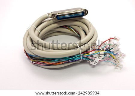 Telecommunication cable for data transmission - stock photo