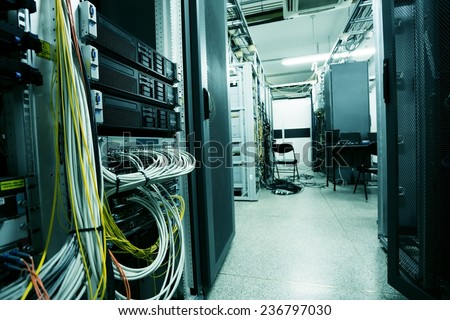 telecommunication devices in the data center - stock photo