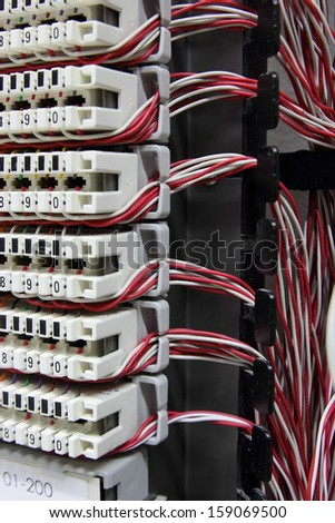 Telecommunication equipment, cross in a data center of mobile operator. - stock photo