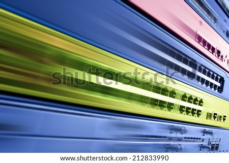 telecommunication internet equipment, fast router switch in motion, high speed data center - stock photo
