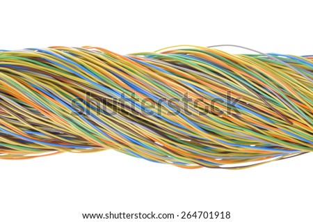 Telecommunication network cables isolated on white background  - stock photo