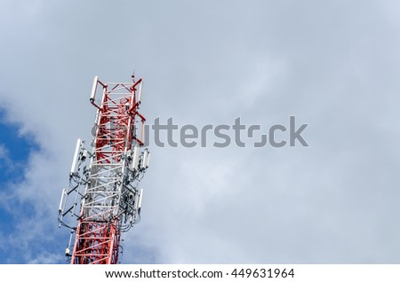 Telecommunication pole over the clouds - stock photo