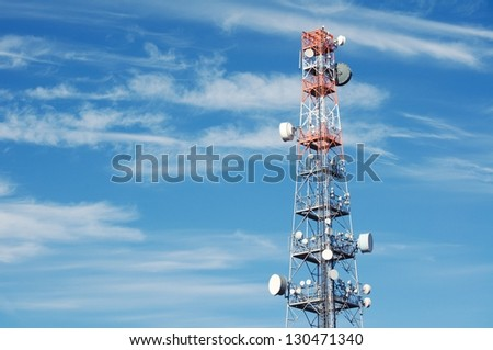 Telecommunication Radio Antenna and Satelite Tower with blue sky - stock photo