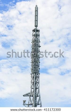 telecommunication tower, communication antenna, communication transmitter tower - stock photo