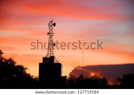 Telecommunication Tower in Evening Light. - stock photo