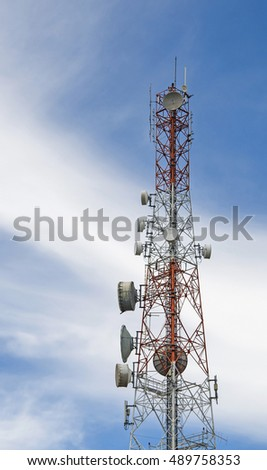 Telecommunication tower mast TV antennas wireless technology with blue sky