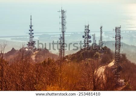 Telecommunication tower near Genoa, Italy - stock photo