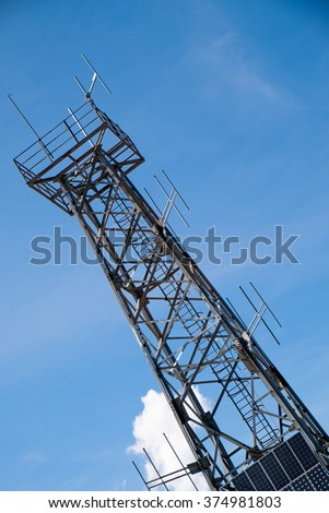 Telecommunication tower on top of a mountain