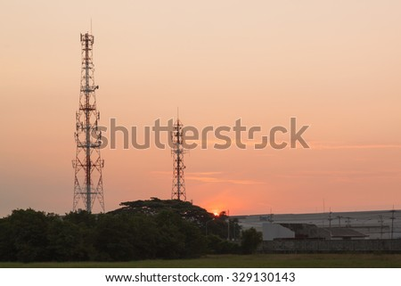 Telecommunication tower sunrise time
