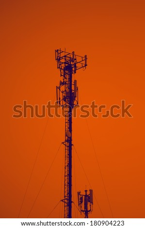 telecommunication tower - sunset silhouette broadcasting steel telephone technology tall radar communication background