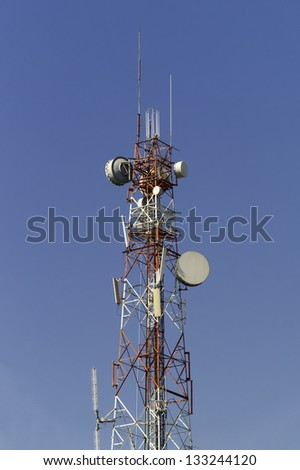Telecommunication tower with many kind of antenna - stock photo