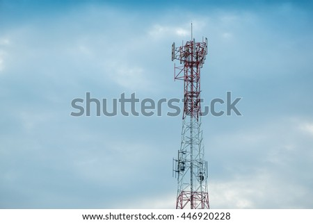 telecommunication with blue sky cloud in background - stock photo