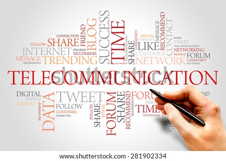 Telecommunication word cloud, business concept - stock photo