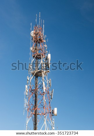 Telecommunications antenna for radio, television and Mobilephone on blue sky day