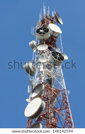 Telecommunications antennas on blue sky background
