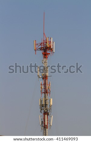 Telecommunications dishes on a steel tower