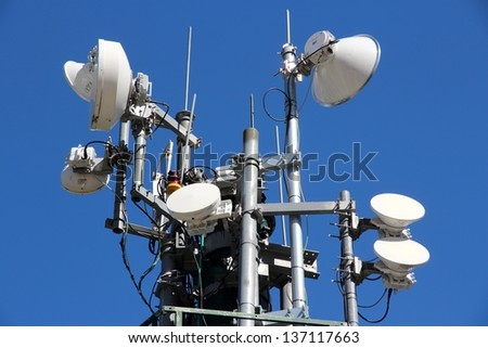 Telecommunications equipment - directional mobile phone antenna dishes. Wireless communication.