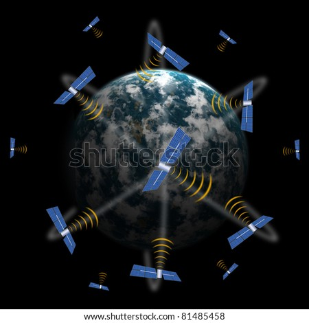 Telecommunications satellite in space transmitting scientific data - stock photo