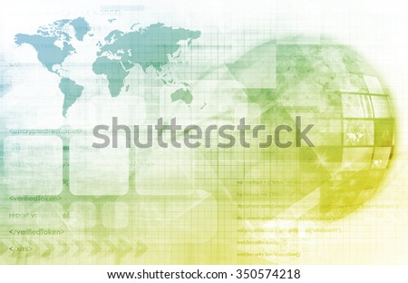Telecommunications Technology Network Going Global as Art - stock photo