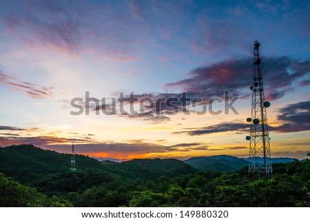 Telecommunications tower. - stock photo