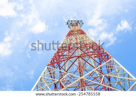 Telecommunications tower in a day of clear blue sky. - stock photo