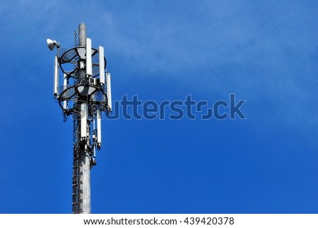 Telecommunications tower. Mobile phone base station