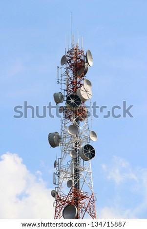 Telecommunications tower on blue sky