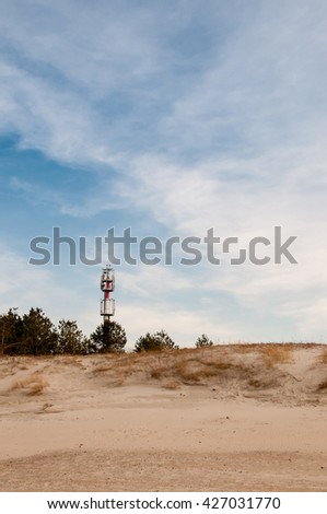 Telecommunications tower on the beach