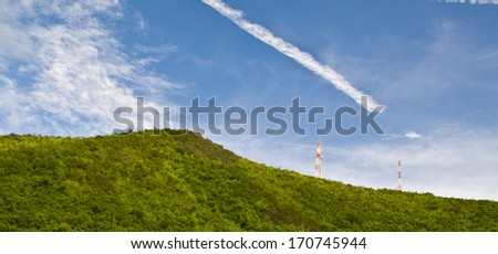telecommunications tower on the mountain background image