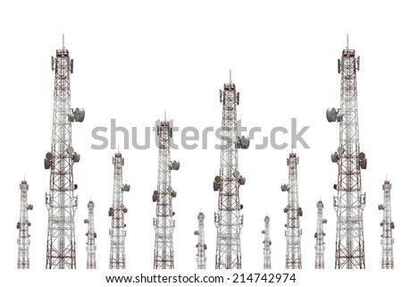 telecommunications tower on white background - stock photo