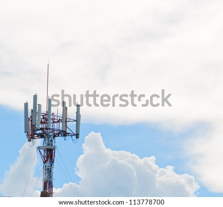 telecommunications tower with blue sky - stock photo
