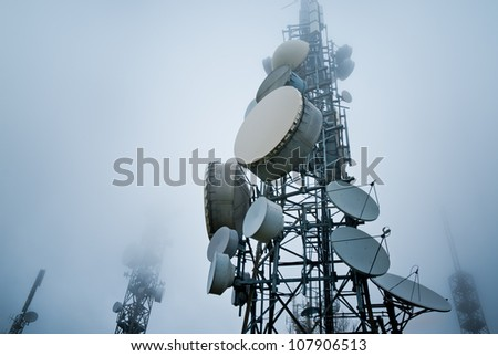 telecommunications towers into the clouds