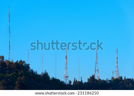 Telecommunications towers over San Cristobal hill - stock photo
