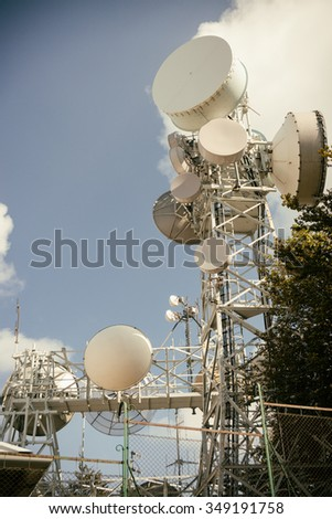 Telecommunications towers under the sky