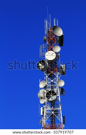 Telecoms tower and blue sky