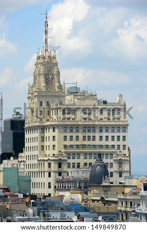 Telef�³nica Building, a Manhattan-style skyscraper at Gran V�­a, Madrid, Spain.  Telef�³nica Building is the tallest building in downtown Madrid built in 1920s.