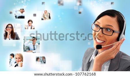Telemarketing headset woman from call center smiling happy talking in hands free headset device. Business woman in suit on blue background and portraits of people - stock photo
