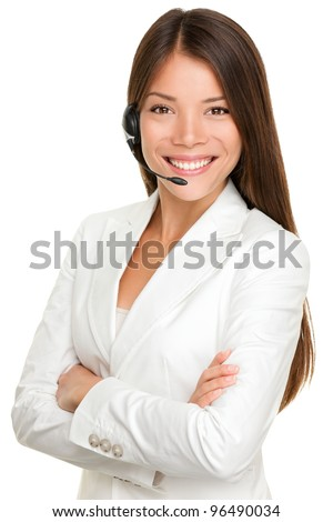 Telemarketing headset woman from call center smiling happy talking in hands free headset device. Multicultural mixed race Chinese Asian / Caucasian business woman in suit isolated on white background. - stock photo