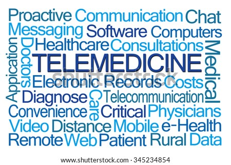 Telemedicine Word Cloud on White Background - stock photo